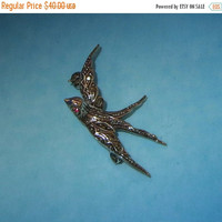 ON SALE Swallow Pin Vintage Victorian Revival Transitional Silver Ruby Crystal Marcasite Bird Brooch Pin Stamped 835 European German