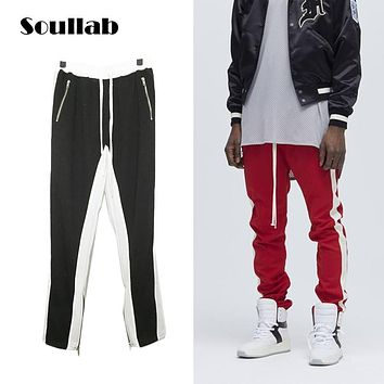 quality zippers fog style men bottom cotton jogger sweat sweatpant stripe cross Justin bieber brand clothing swag skateboard boy