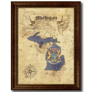 Michigan State Vintage Map Home Decor Wall Art Office Decoration Gift Ideas