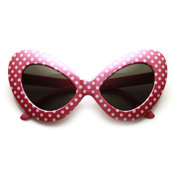 1950's Retro Womens Fashion Oversize Polka Dot Novelty Cat Eye Sunglasses 9549