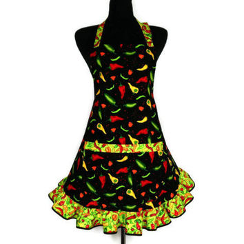 Chili Pepper Apron Retro Kitchen Decor Adjustable With Pocket And Ruffle Jalape O And