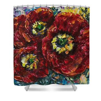 Diptych 1 Piece Painting Of Poppies Palette Knife Oil - Shower Curtain