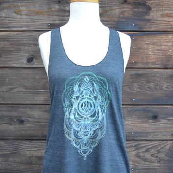 Women's Racerback - Glow in the Dark Mandala and Trident Image Design - One of a kind - Sacred Geometry - Large