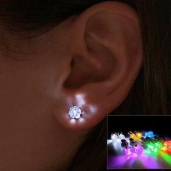 Light Up LED Bling Cool Fashion Party Earring Studs Blinking Party Studs