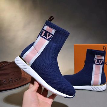 LV tide brand female models high quality high to help casual sets of foot elastic socks boots Blue
