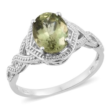 Olive Apatite Platinum Over Sterling Silver Braided Shank Ring