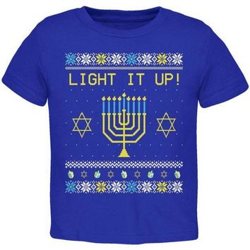 PEAPGQ9 Hanukkah Light It Up Ugly Christmas Sweater Toddler T Shirt