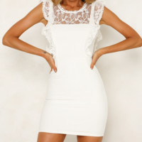 Summer New Fashion Lace Solid Color Vest Dress Women White