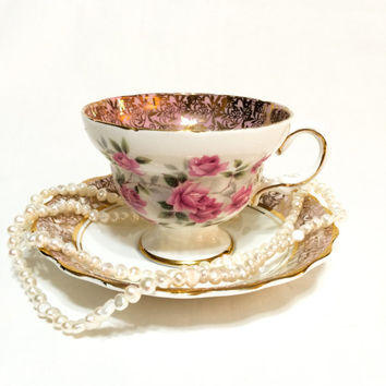 Rosina Tea Cup and Saucer, Pink & White Roses Tea Cup, Floral Gold Chintz, English Bone China, Shabby Chic Decor, 1950s, Vintage