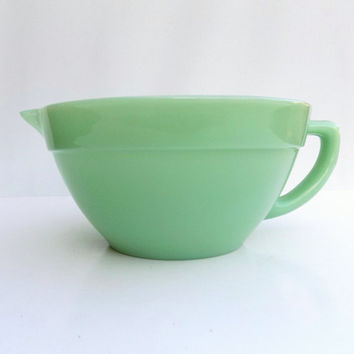 Vintage Fire King Jadeite Batter Bowl, 50s Kitchen, Mint Green Glass Handled Mixing Bowl by Anchor Hocking