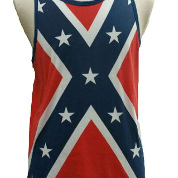 Men's Confederate Rebel Flag Tank Top Southern Dixie Redneck Pride