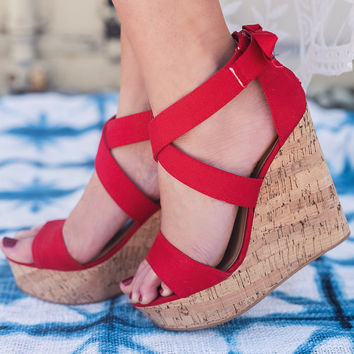Kristina Wedged Sandals (Red)