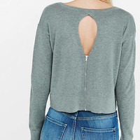 Deep V-neck Cut-out Zip Back Abbreviated Sweater from EXPRESS
