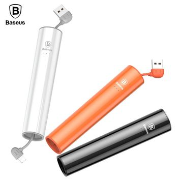 Baseus Portable 2000mAh Power Bank For iPhone 8 7 6 Micro USB Output Powerbank External Battery Charger For Android Phone