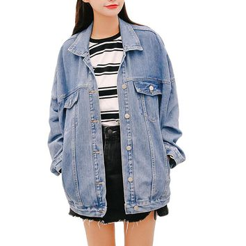 High quality Plus Size Cotton Denim Autumn Jeans Oversize Jacket Women Casual Loose Female Coat Jackets basic Coats Outerwear