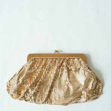 Vintage 1960s Gold Mesh Clutch by Whiting and Davis Co./ Wedding Accessories/ Gold purse