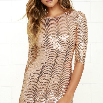Sequin-tessential Gold Sequin Dress