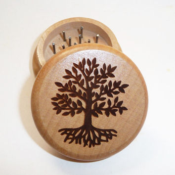 Hand made Oak Wood burned herb grinder   / Tree of Life