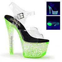 "Crystalize 708PS Clear Ankle Strap Upper Shoe Neon Stones 7"" Platform Heel - Green"