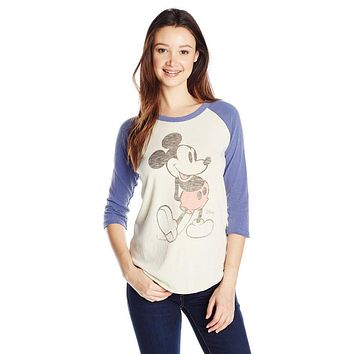 Womens Junk Food Mickey Mouse Vintage Inspired Raglan