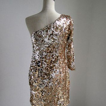 One-shoulder Sequin Dress - Gold Sequin Cocktail - Disco 70s vtg Party