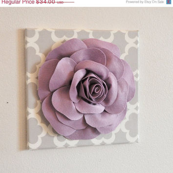 "MOTHERS DAY SALE Wall Decor - Wall Flowers -Lilac Rose on Neutral Gray Tarika Print 12 x12"" Canvas Wall Art- Baby Nursery Wall Decor-"
