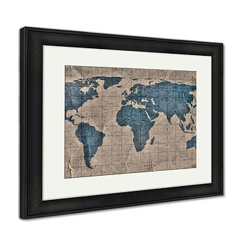 Framed Print, Grunge World Map
