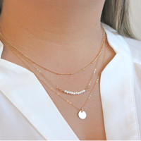 Faux Pearl & Sequin Pendant Layered Necklace