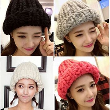 2015 Korean Thermal Thick Yarn Handmade Women Knitted Hat Winter Warm Slouch Beanie Caps Roll Up