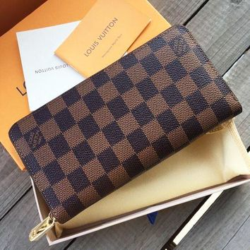 LV Fashion Hot Selling Men's and Women's General Handbags Chequered Long Zipper Wallet Coffee lattice