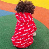 DCCKN6V Supreme Cute Fashion Dog pet clothes spring fall winter Dog Cost sport clothes Hoodie Coat cloths Red G