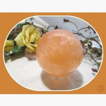"""Mental Clarity"" Orange Selenite Sphere & Stand Set - 55mm"