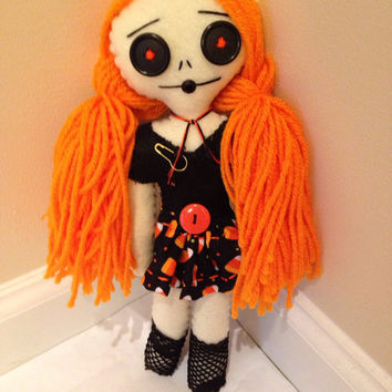 Halloween Doll, Art Doll, Handmade Doll, Felt Doll, Hand Stitched Doll, Creepy Cute, Candy Corn, Punk Rock Doll, 90s Grunge Style