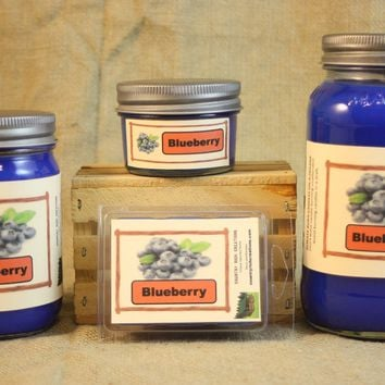 Blueberry Candle and Wax Melts, Fruit Scent Candle, Highly Scented Candles and Wax Tarts, Mason Jar Candle, Hostess Gift