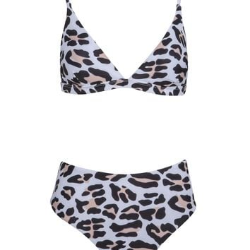 Snow Leopard Animal Print Two-Piece Swimsuit