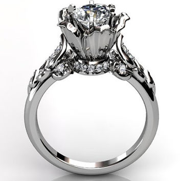 14k white gold diamond unusual unique flower engagement ring, bridal ring, wedding ring ER-1080-1