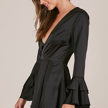 Frozen In Time playsuit in black Produced By SHOWPO