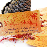 Christmas Gift Tags, Set of 7 Tags, Star of Bethlehem and Three Wise Men, Hand Stamped Holiday Tags, Spirit of Christmas, Holiday Decoration