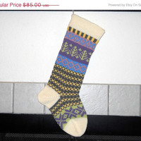 Striped Hand Knit Christmas Stocking in Grey and Yellow, Fern Green Trees, Lavender Snowflakes, Fair Isle Stocking, can be personalized