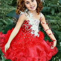 Glitz pageant red christmas babydoll dress (N.16) - MADE TO ODER