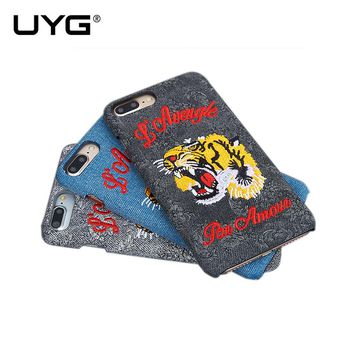 UYG for iphone 6s case silcone strong protection cool design with 3D stereoscopic Tiger embroidery phone case for iphone 6 case
