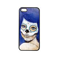 iPhone 5 Case - Dia De Los Muertos Artwork - Stars- Sugar Skull - Art - Blue