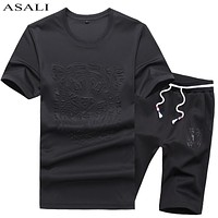 Clothing 2 PCs Casual Suit Fashion Summer New Men Suit Slim Letter T Shirt Men T Shirt Set