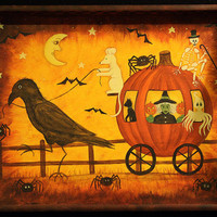 Halloween Folk Art Wood Tray - Hand painted Primitive Crow Pulling Pumpkin Coach with Mouse, Witch, Spiders, Ghost, Black Cat, Skeleton
