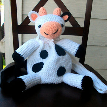 Crochet Amigurumi Cow Backpack/Pouch