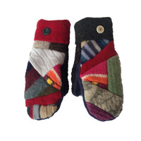 Scrappy Patchy Mittens by SWEATY MITTS Recycled Wool Mittens Colorful Handmade in Wisconsin BOHO Upcycled Red Blue Green Pink Gray Hippie