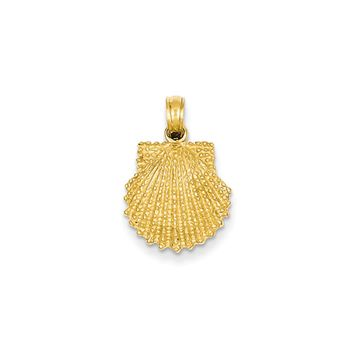 14k Yellow Gold Textured Scallop Shell Pendant, 13mm
