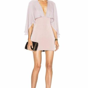 Light Pink Cape Bandage And Chiffon Mini Dress