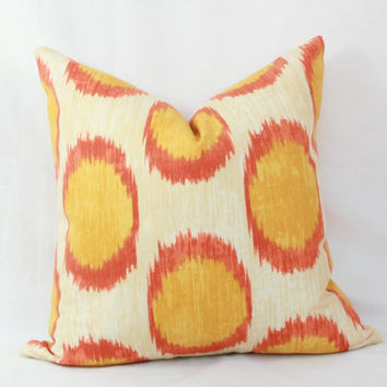 "Orange & yellow ikat dot decorative throw pillow. 18"" x 18"" toss pillow. 18"" square accent pillow."