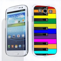 Bundle - 2 Items: Hard Cover Case (Rainbow Piano Design) + One Tough Shield (TM) Clear Screen Protector for Samsung Galaxy S-III S3 (AT&T T-Mobile Sprint Verizon)